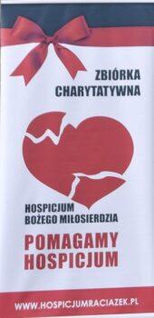Plakat zbiórki charytatywnej dla Hospicjum Bożego Miłosierdzia
