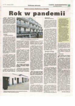 Artykuł gazety Aleksandrowskiej, na temat pandemii w SPZLO